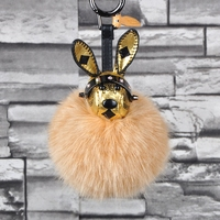 Leather Rabbit Toy Fluffy Fox Fur PomPom Keychain Bags Hanger Charms KeyRing For Women KeyChain Porte