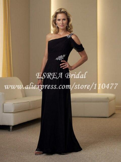 Semi Formal One Shoulder Mothers Dresses For Beach Weddings Black