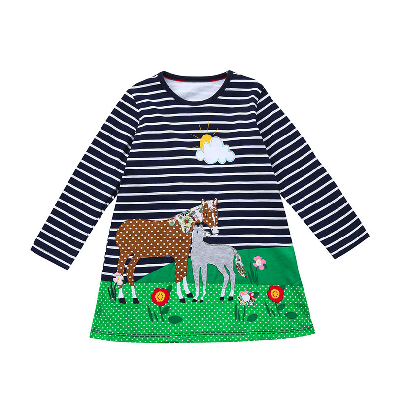 girl baby clothes baby 2018 new casual Long Sleeve Plaid horse false two-piece dress suspender with high quality vestidos #5
