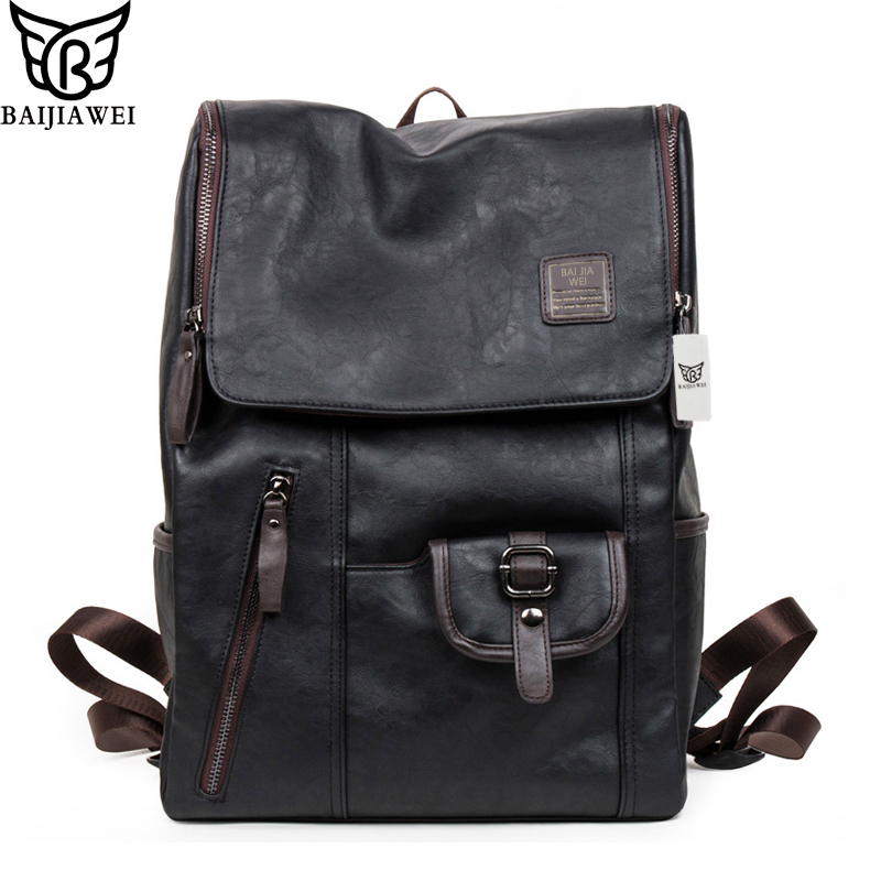 BAIJIAWEI Hot Sale Oil Wax Leather Backpacks Western Style Fashion Bag For Men Laptop Bags Travel Mochila Zip Casual Daypacks senkey style fashion genuine leather backpacks bag for men women shoulder bag teenagers casual travel school bags laptop mochila