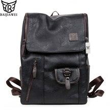 Baijiawei venta caliente mochilas de cuero cera de petróleo bolso de moda de estilo occidental para los hombres zip casual mochilas bolsas de viaje mochila portátil