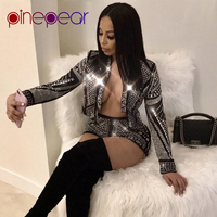 PinePear Glitter Diamond Long Sleeve Crop Top and Shorts 2 Piece Set 2019 Trendy Women Luxury Sexy Party Outfits Drop Shipping