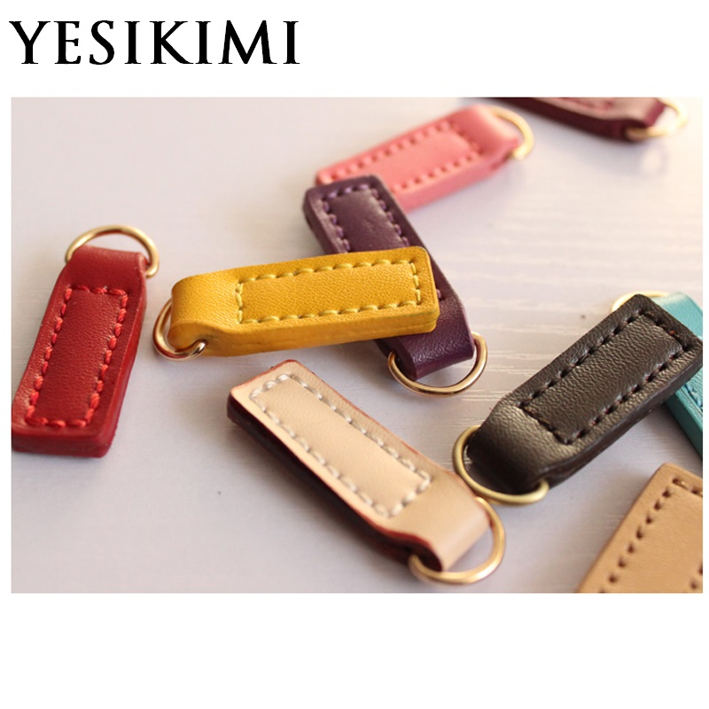10pcs/lot DIY Handwork Real Leather Small Zipper Puller Fit For Bags Clothes Replacement Zip Puller Bag Accessories