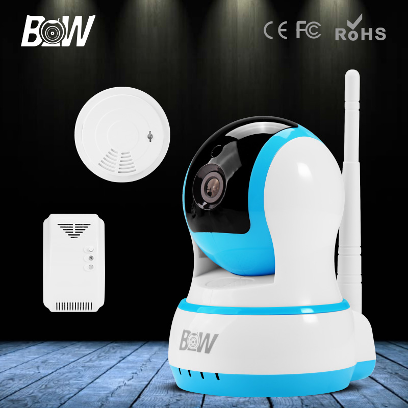 BW Wireless Wifi IP Camera HD 720P P/T Infrared IR Audio Recording P2P Security Surveillance CCTV Gas & Smoke Detector GSM Alarm bw wireless wifi door