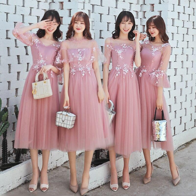 Beauté Emily A ligne dentelle rose foncé robes de demoiselle d'honneur 2019 court pour les femmes grande taille de fête de mariage bal fille robes d'invités