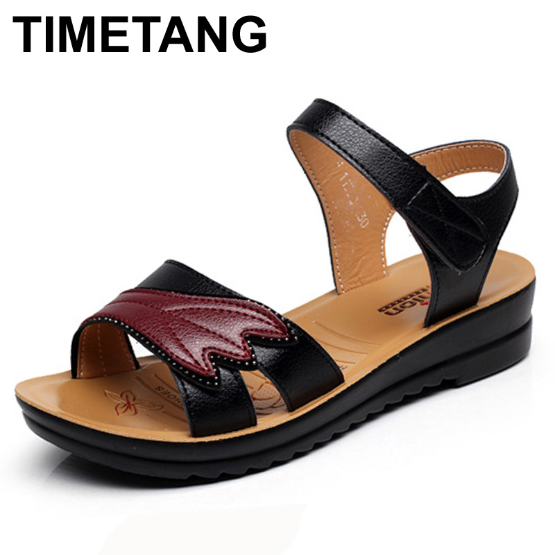 TIMETANG summer new Mother fashion sandals Female soft bottom leisure comfortable ladies sandals Women flat sandals Plus Size timetang mother sandals soft leather large size flat sandals summer casual comfortable non slip in the elderly women s shoes