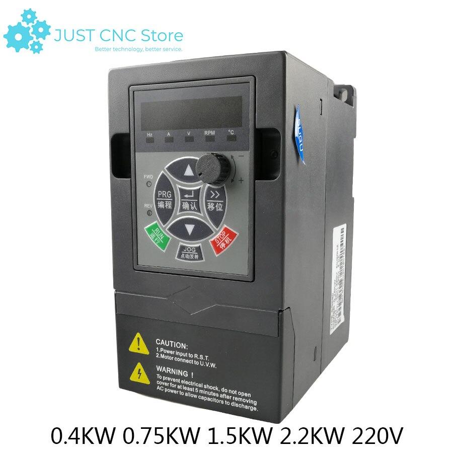 Convertisseur de fréquence universel à accès unique 1.5KW 2.2KW 4KW 220 V VFD convertisseur de fréquence à sortie 3 phases vitesse réglable