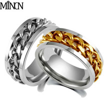 MINCN tricolor chain Ring Korean character Mens hand decorations stainless steel rings anniversary  gifts for men