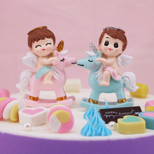 Horse-riding Angel Resin Handicraft, Boys and Girls Baking Goods, Birthday Gifts, Childrens Desks Decorated in 2 Colors