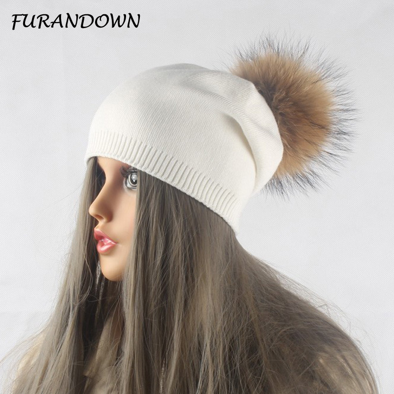 Winter Autumn Pom Pom Beanies Hat Women Knitted Wool Skullies Casual Women's Cap Real Raccoon Fur Pompom Hats