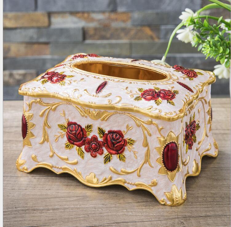 Haute qualité boîte à mouchoirs en métal fleur sculpté tissu stockage tissu conteneur boîte de rangement de tissus pour la décoration de la maison ZJH074