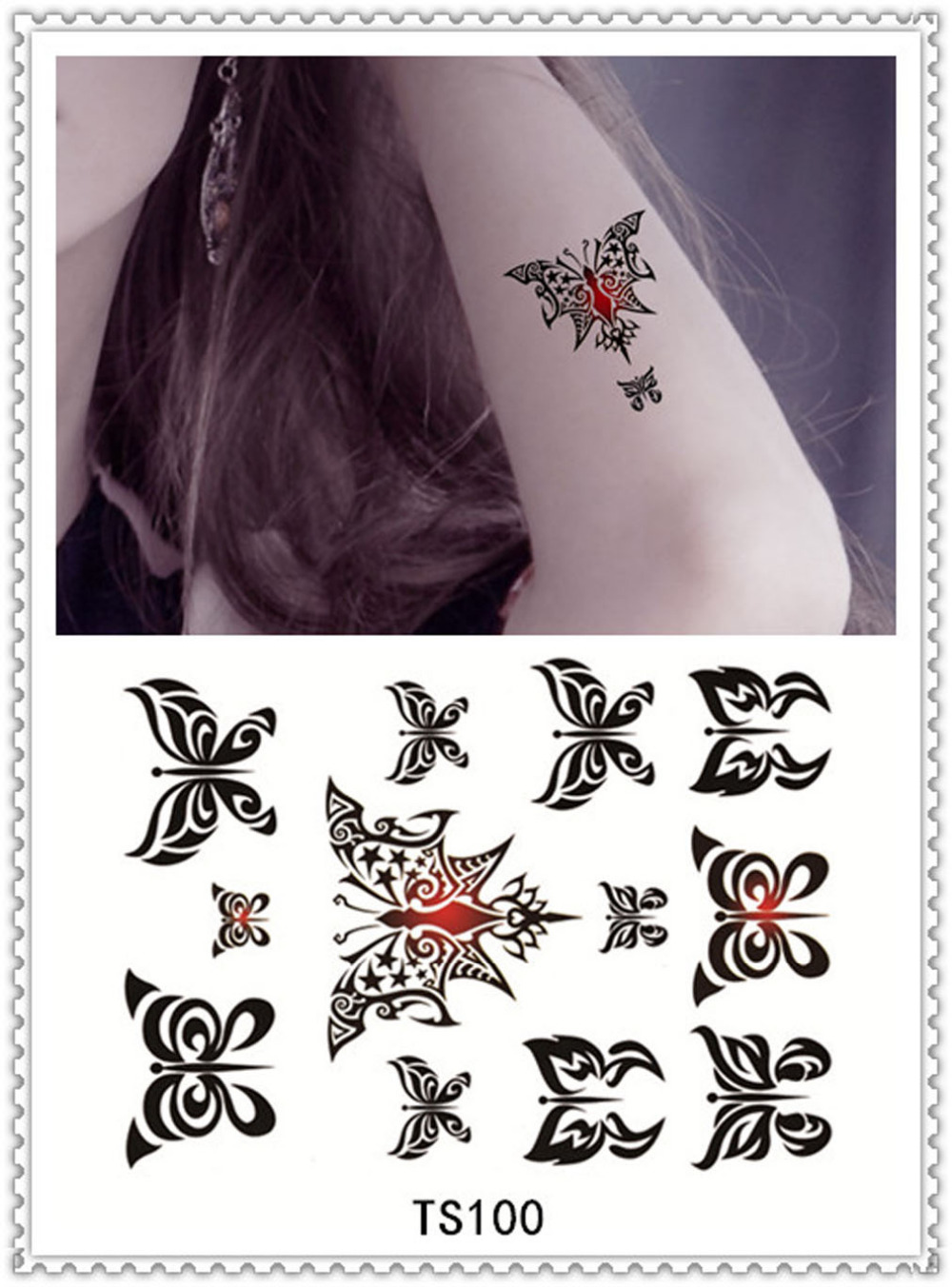 YEEECH Temporary Tattoos Sticker for Women Sex Products Body Art Tattoo Decals Black Butterfly Designs for Arm Leg Scar Cover