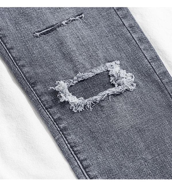 2019 Jeans Female Denim Pants hole korean fashion buttom womans pencil pants gray denim elastic trousers for ladies Donna