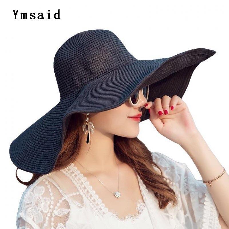 Handmade Weave Sun Hats For Women Black Up Large Brim Straw Hat Outdoor Beach Summer Caps Chapeu Feminino