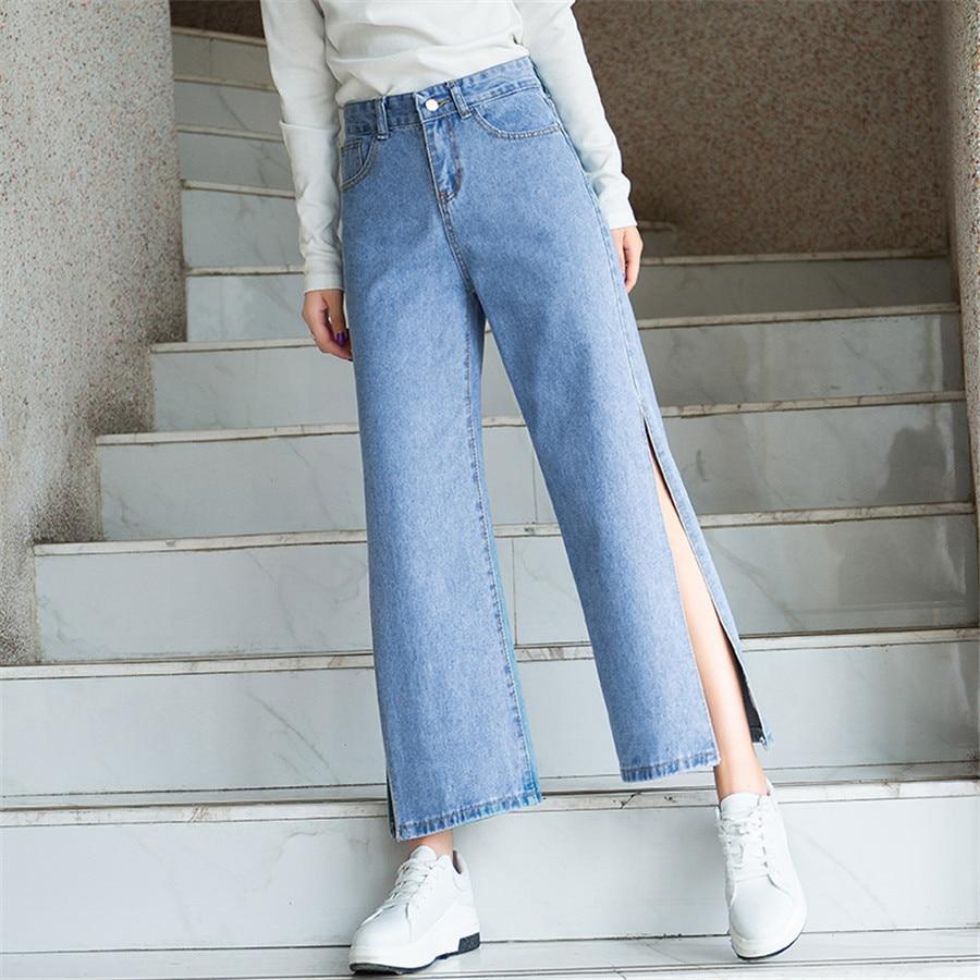 Azul Ancha Alta Cielo De Mujeres Del Longitud La Pantalon Mujer Vaqueros Tobillo Para Pierna Dividir Denim Pantalones Cintura Elástica vHFHTqRUEw