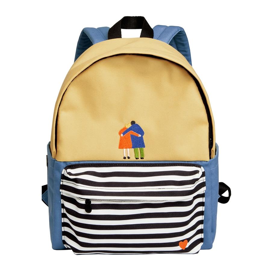 YIZISTORE Original décontracté toile sacs à dos pour adolescents avec impression et broderie unisexe en série de loisirs (FUN KIK)