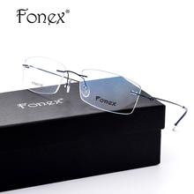 ff3a3df65f FONEX No Screw Ultralight Design Rimless Titanium Glasses Frame Men  Prescription Square Eyeglasses Myopia Optical Frame Eyewear