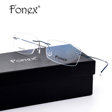 FONEX No Screw Ultralight Design Rimless Titanium Glasses Frame Men Prescription Square Eyeglasses Myopia Optical Frame Eyewear
