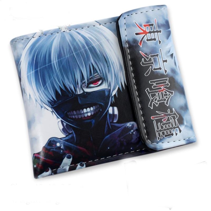 Anime Tokyo Ghoul Ken Kaneki Purse Bag RED Eyes White Hair Short Purse Bag Zipper PU Wallet Printed