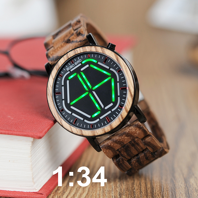 BOBO BIRD New Arrival Wooden WristWatch Led Display Digital Mens Watch Unique Night Vision 4 colors Available