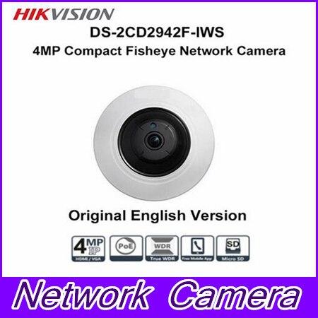 Free shipping Hikvision DS 2CD2942F IWS 4MP POE Wi Fi PTZ View Fisheye CCTV Network Camera