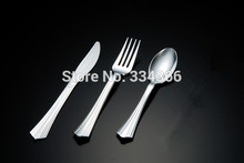 300Pcs/Lot Disposable Plastic Silver Cutlery Party Flatware WeddingTableware Knife/ Fork/ Spoon As Stainless Steel Color