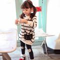 Детская одежда мода девушки одежда устанавливает полосатый кот девочка с длинными рукавами хлопок 2 шт. малышей девушки дети комплект одежды