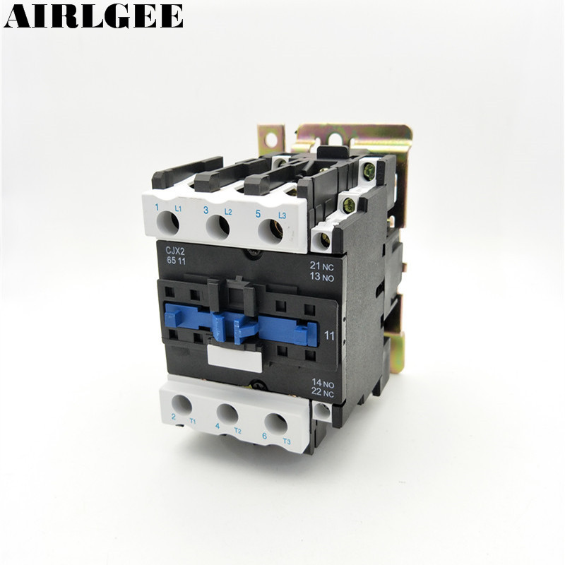 220V Coil Motor Controler AC Contactor 3 Pole 3P NO NC 660V 37KW CJX2-6511 free shipping high quality motor starter relay cjx2 6511 contactor ac 220v 380v 65a voltage optional lc1 d