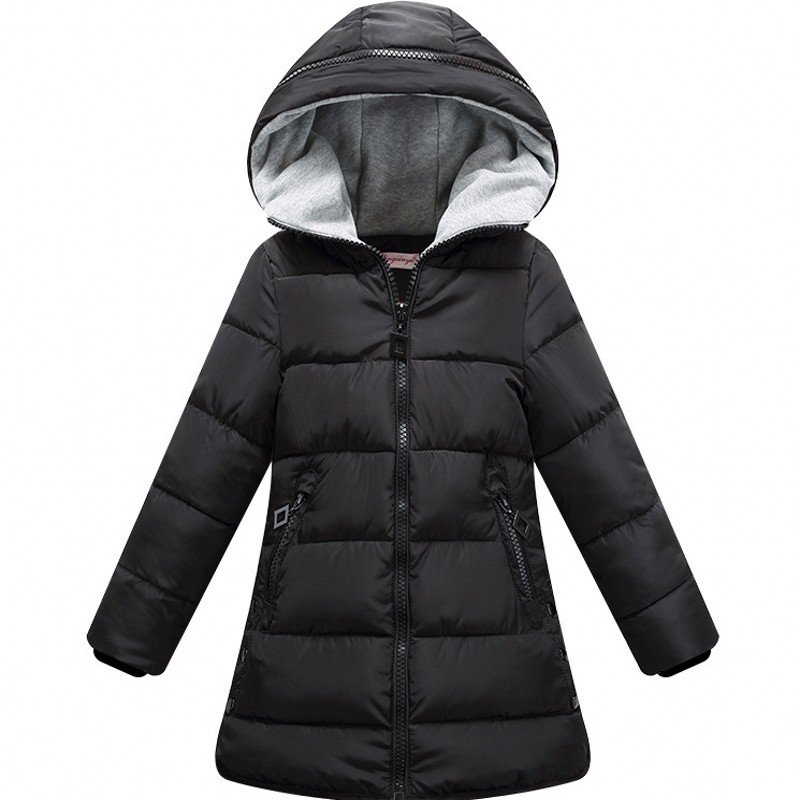 New Winter Jackets Girls Hooded Thickness red and black color Kids Coats Winterjas Meisjes Winter Jacket 8WC035