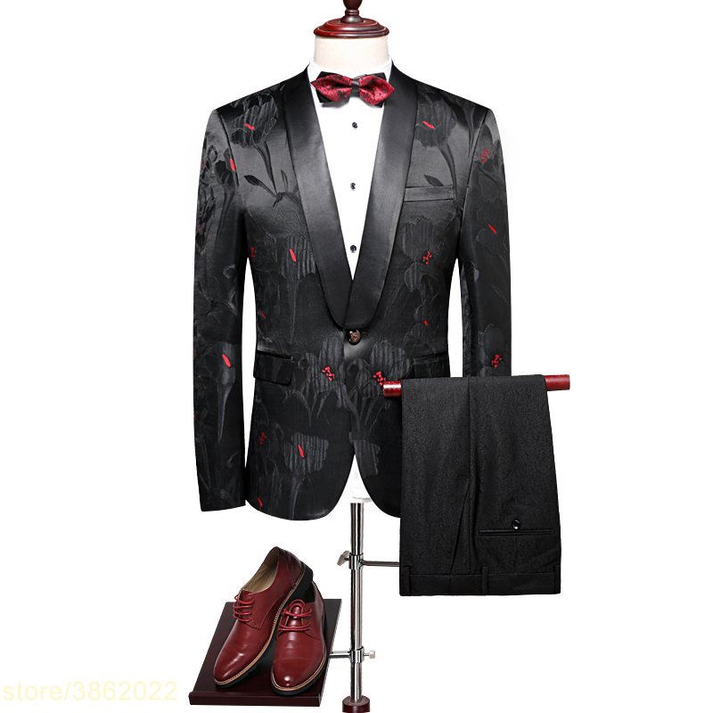 Single Button 2 Piece Suits Men Wedding Suit With Pants Costume Homme Classic Black Flor ...