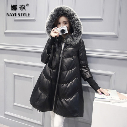 2016 new hot winter Thicken Warm woman Down Coats Parkas Leather clothing Hooded fox Fur collar long plus size 2XXL luxurious hp 356990 b21