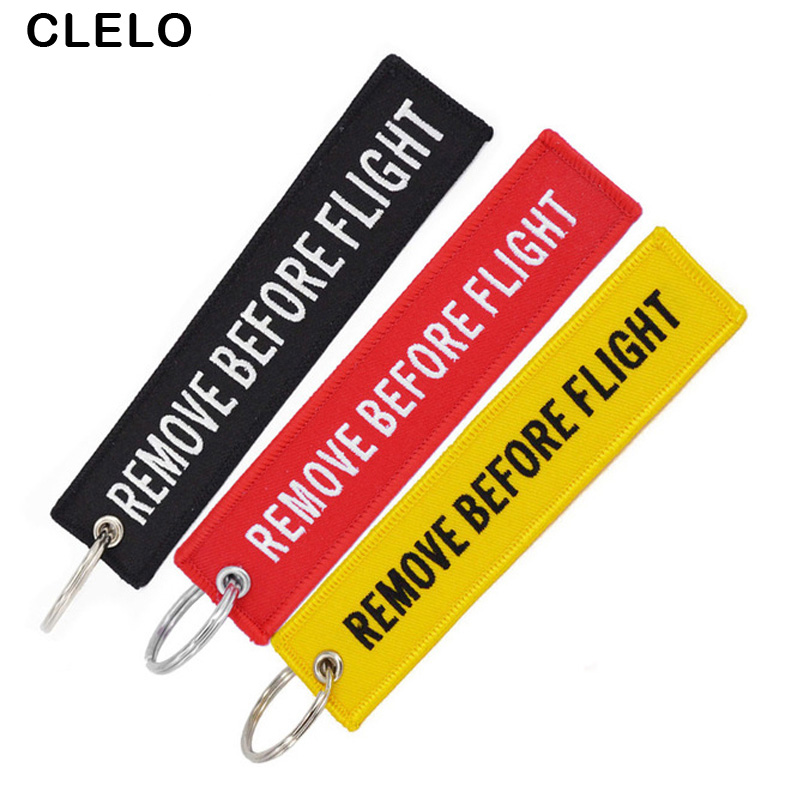 Fashion Remove Before Flight Luggage Tag Embroidery Bag Tag Luggage Lable With Keyring Keychain For Aviation Gifts