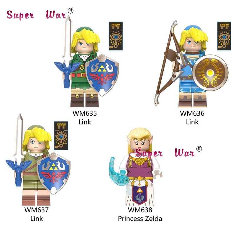 Blocos de Construção Dos Desenhos Animados único Jogo Link Escudo Espada Arqueiro Sonic brinquedos para as crianças