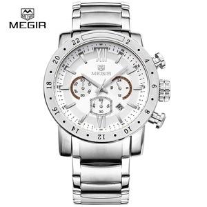 Image 2 - MEGIR montre bracelet à quartz pour hommes, montre bracelet blanche, à la mode, avec trois yeux, étanche et lumineuse, pour hommes, tendance