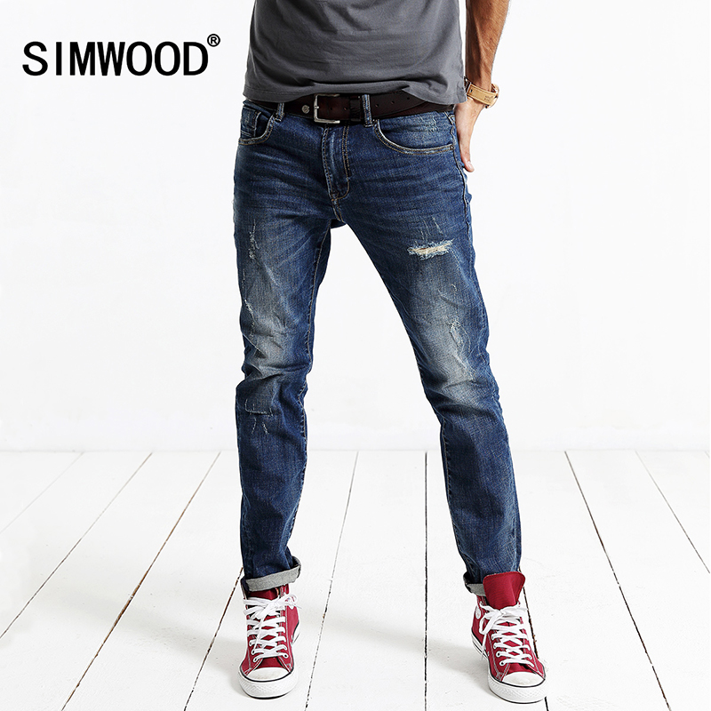 SIMWOOD 2016 New Spring Winter fashion hole skinny   jeans   men long denim pants causal trousers SJ6055