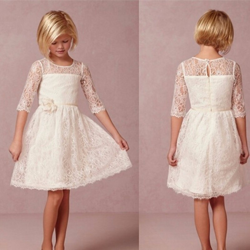 2019 A-line Lace   Flower     Girl     Dresses   Half sleeve With Sash   Girls     Dress   For Wedding And Party Little   Girls   First Communion   Dress