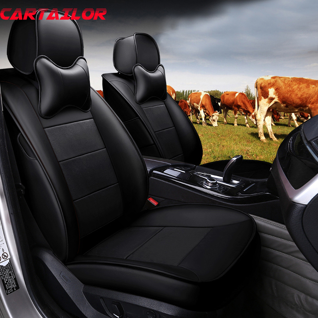 CARTAILOR Cowhide Leather Car Seat Cover Protector For Toyota Sienna Covers Accessories Custom Fit