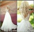 2015 кружева свадебные платья глубокий V шеи вышивка створок-линии длина пола свадебные платья