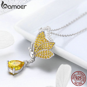 Image 5 - BAMOER New Trendy 100% 925 Sterling Silver Sparkling Dancing Butterfly Pendant Necklaces Women Sterling Silver Jewelry SCN241