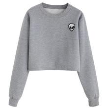 Giraffita Printed Long-sleeved Women Sweatshirt  New Autumn Plus Velvet Hoodie Plus Size Loose Casual Short Sweatshirts Crop Top