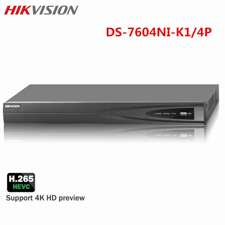 HIKVISION 4CH POE 4K NVR DS 7604NI K1 4P H 265 Embedded Up to 8MP IP