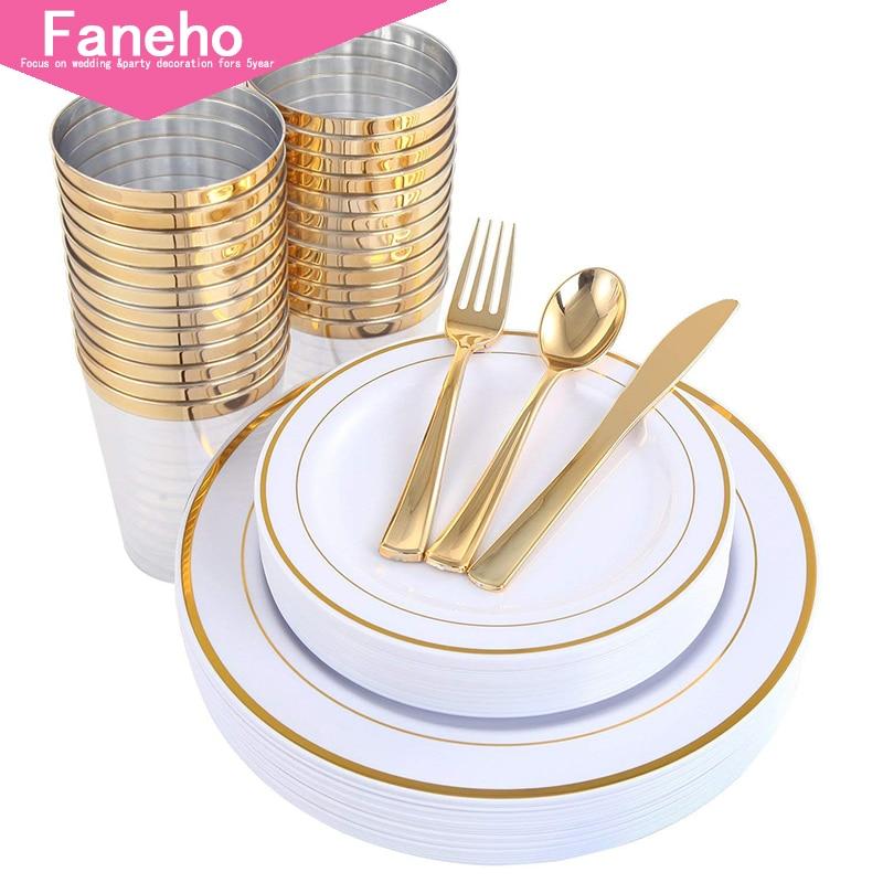 Plates Plastic Silverware Gold Cups