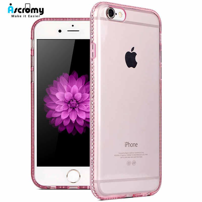Ascromy สำหรับ iPhone 7 กรณี Glitter ซิลิโคนโปร่งใสสำหรับ iPhone X S Max XS XR 8 Plus 6 6 วินาที Bling Luxury อุปกรณ์เสริม