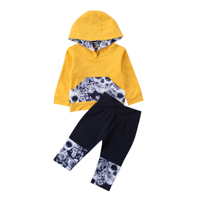 New Casual 2pcs Newborn Baby Boy Girl Clothes Print Skull Hooded Sweater Top Long Pants Outfits Set Clothes