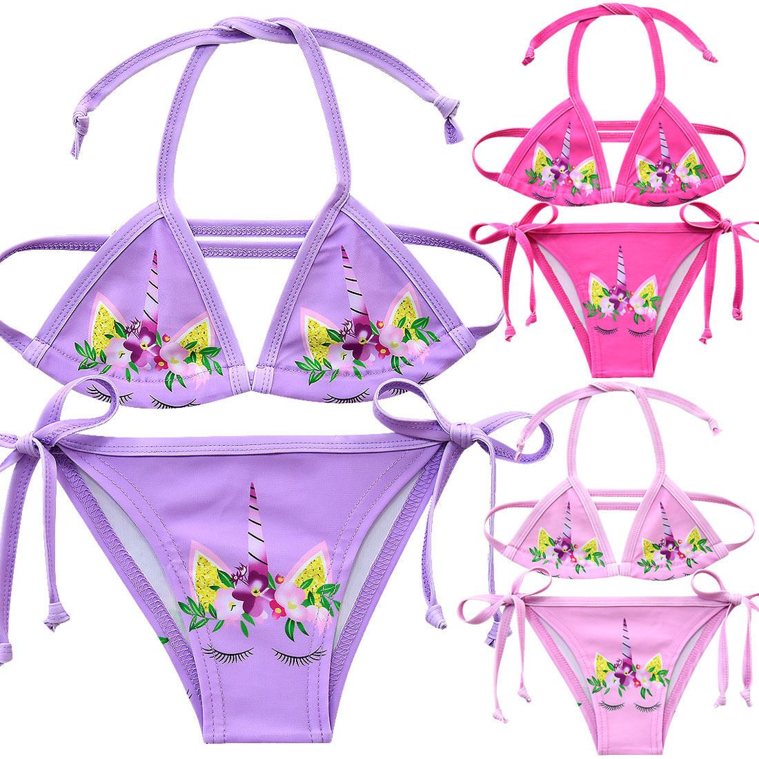 2019 Girls Swimsuit 3-12years Two Piece Unicorn Children's Swimwear Kids Swiming Bikini Suit Children Girls Beach Wear G48-8069