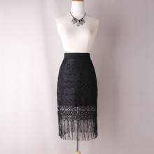 Spring Summer Lace Hollow Out Tassel Skirt England Style High Waist Slim Women Package Hip Skirts