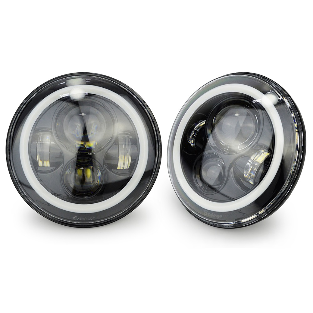 Safego 7 Inch Round High Low Headlight with Amber Signal Halo Ring Angle Eyes for 97-15 Jeep Wrangler JK TJ Harley Davidson 7 inch round led headlight with red signal halo angle eyes with white drl halo for 97 15 jeep wrangler