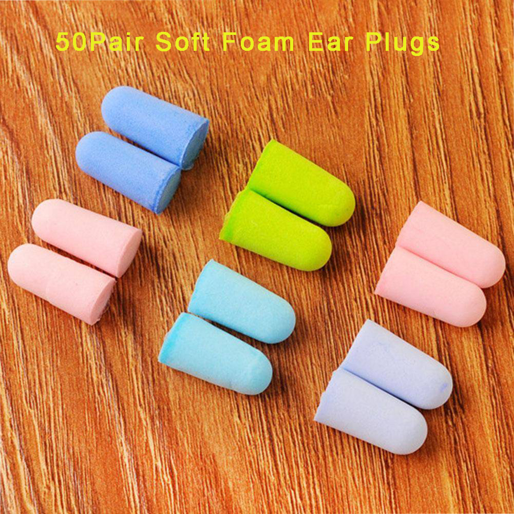 50Pair Soft Light Foam Ear Plugs Defenders Ear Protectors Earplugs Improve Sleep Hearing Protection Color Random