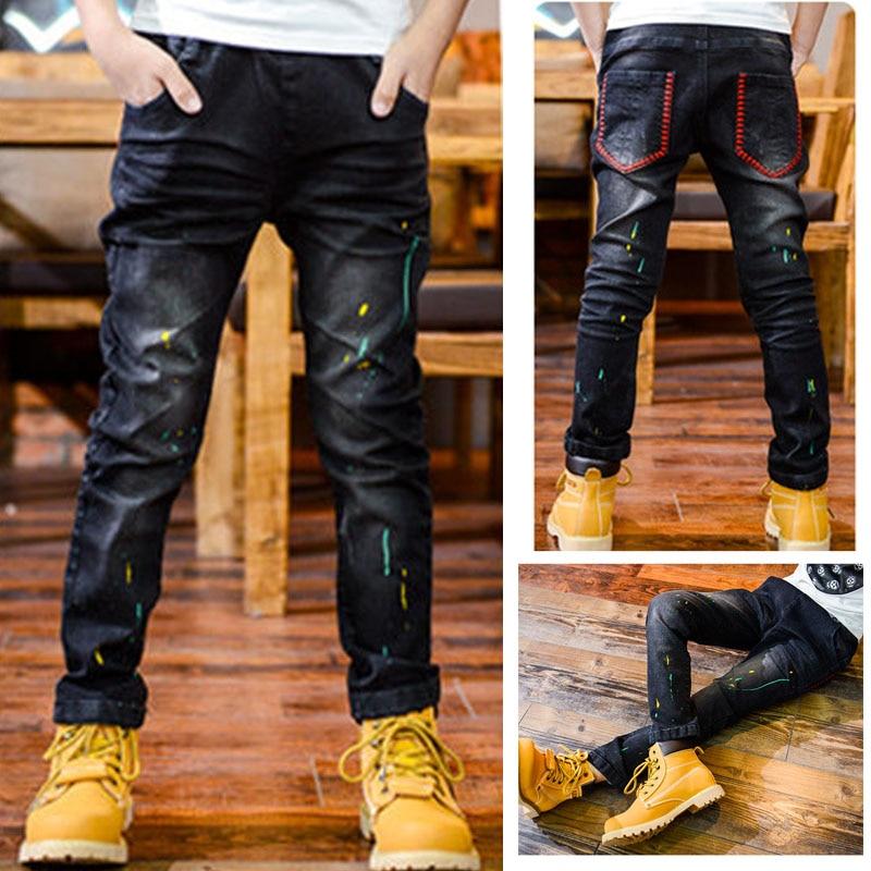 DIIMUU Moda Crianças Roupas Meninos Calças Lápis Denim Calça Jeans de Algodão Calças Criança Impressão Marinha Fundo Buraco Fit 5-10 anos