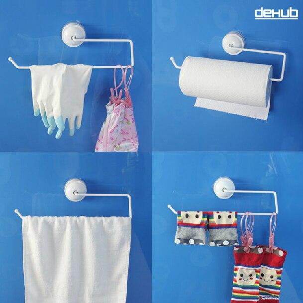 Dehub Suction Cup Toilet Paper Holder Tissue Box Kitchen Bathroom Storage Rack Roll Paper Tissue Holder Towel Rack in Storage Holders Racks from Home Garden